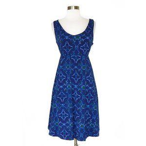 Fresh Produce Deep Blue Purple Print Empire Dress